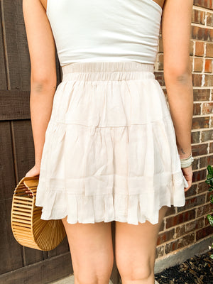 BEIGE RUFFLE TIERED SKIRT W BUTTON