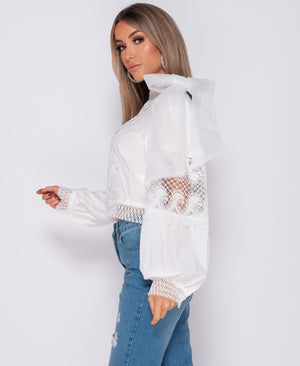 White Lace Panel Detail Bow Blouse