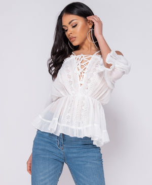 White Lace Trim Tie Up Front Cold Shoulder Blouse