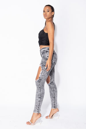 Light Grey Acid Extreme Distressed High Waist Skinny Jeans