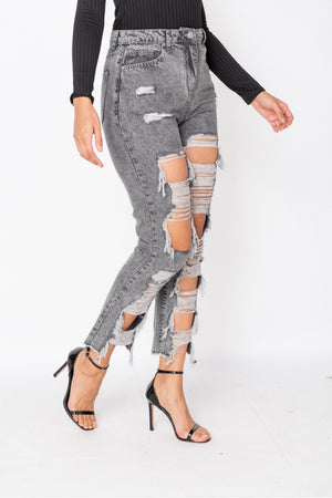 Light Grey Acid Extreme Rip Boyfriend Jeans