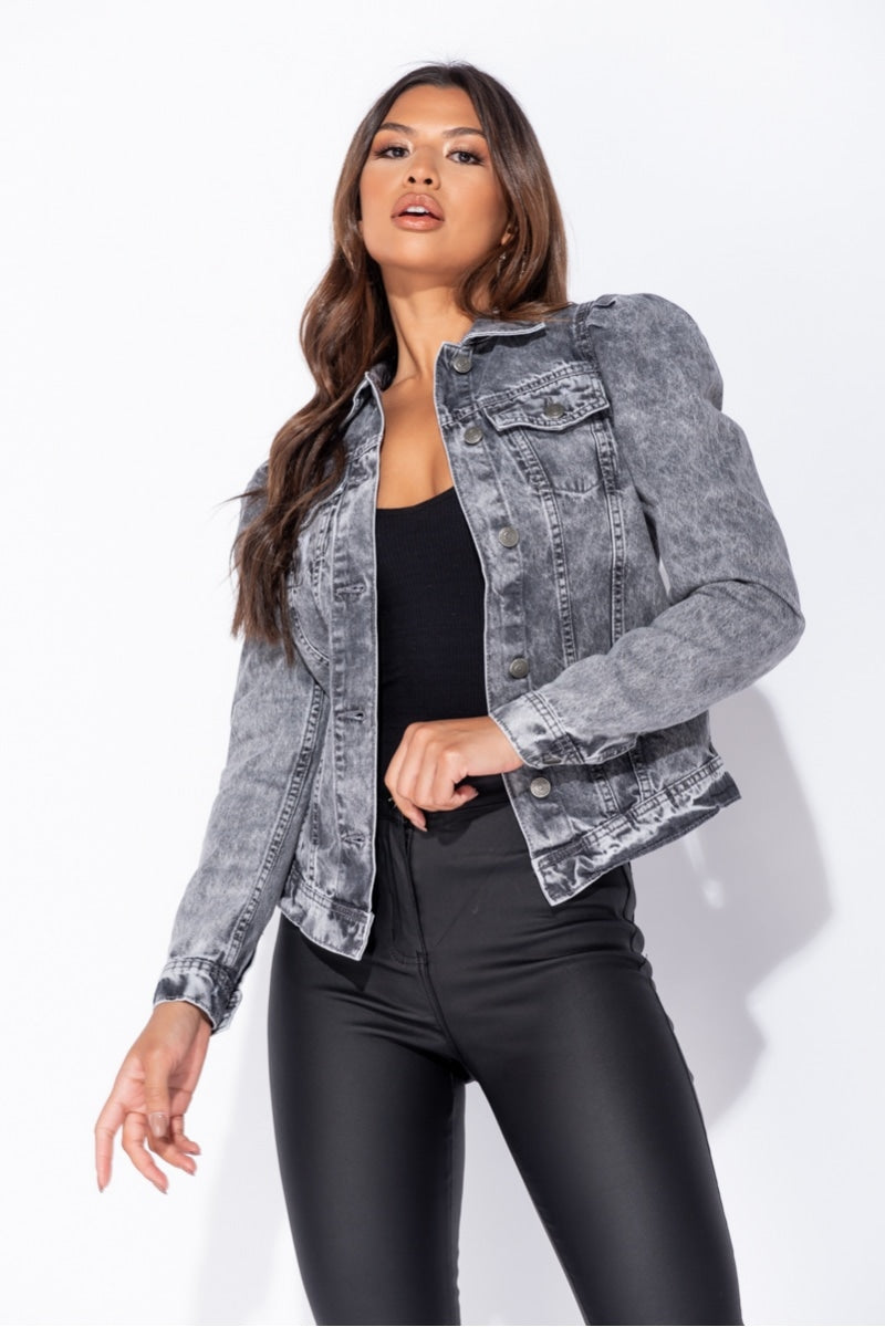 Light Grey Acid Puff Sleeve Western Denim Jacket