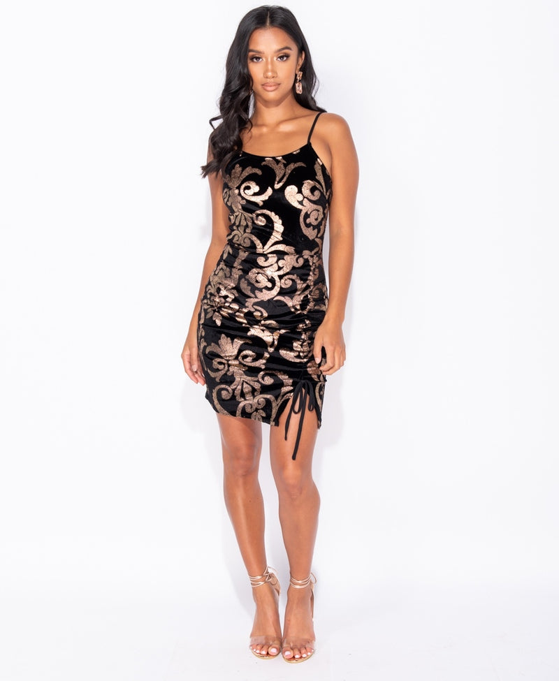 Metallic Baroque Print Ruching Detail Bodycon Mini Dress