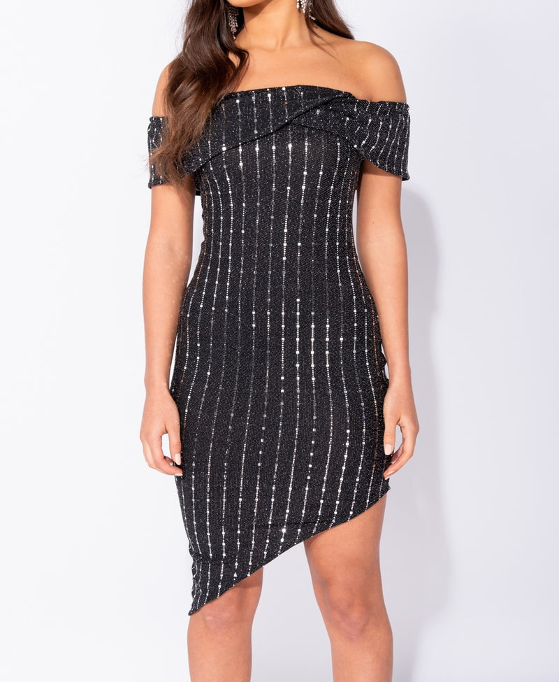 Metallic Lurex Bardot Asymmetric Hem Bodycon Mini Dress