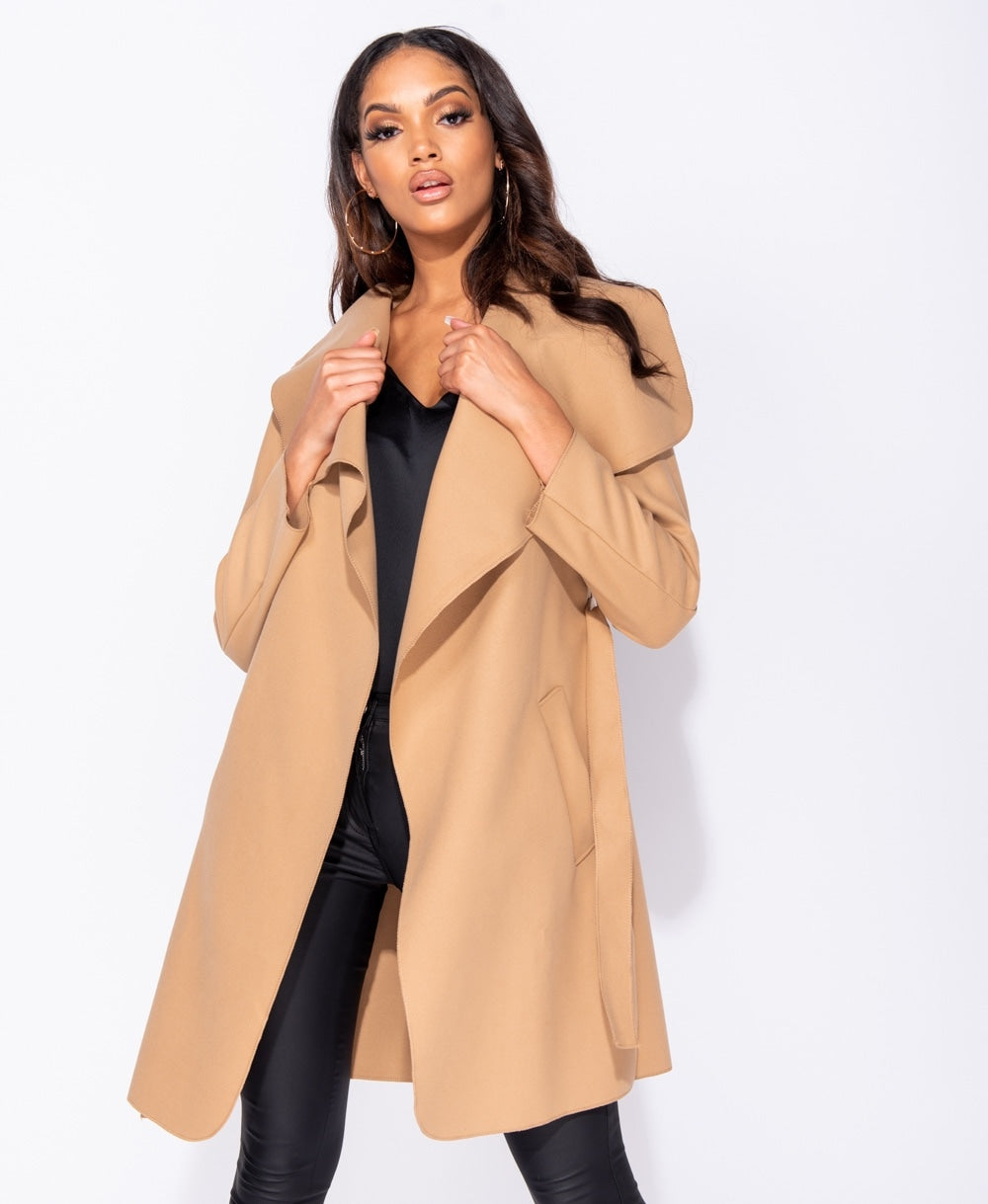 RESTOCKED!!! Camel Oversized Belted Waterfall Coat