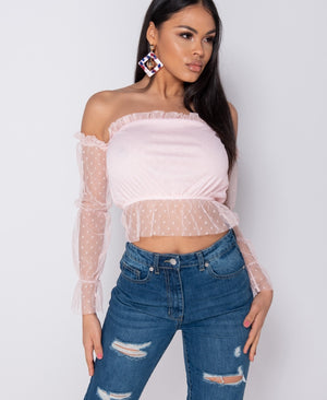 Pink Polka Dot Sheer Frill Trim Long Sleeve Bardot Top