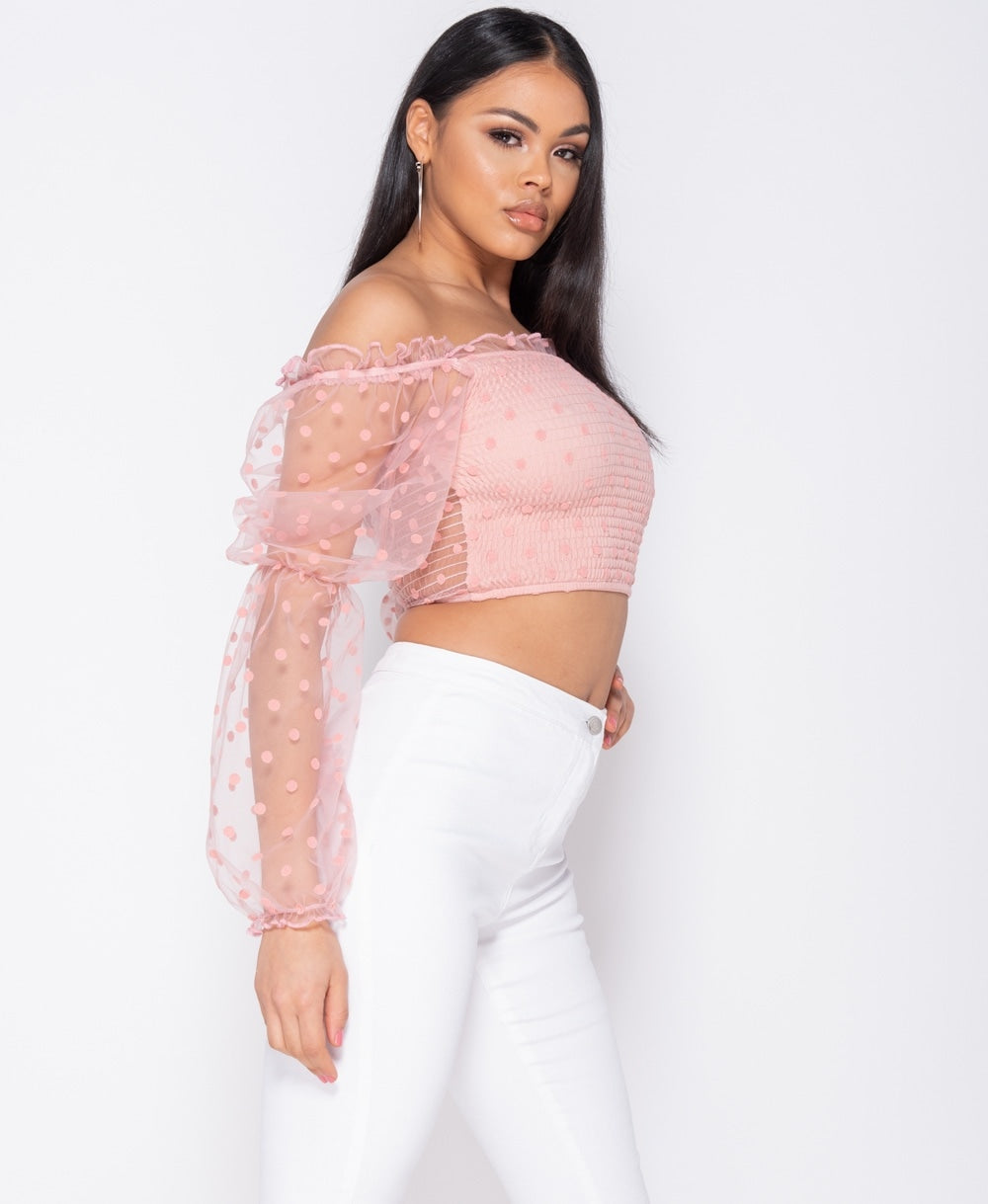 Pink Polka Dot Sheer Shirring Detail Bardot Crop Top 1/25