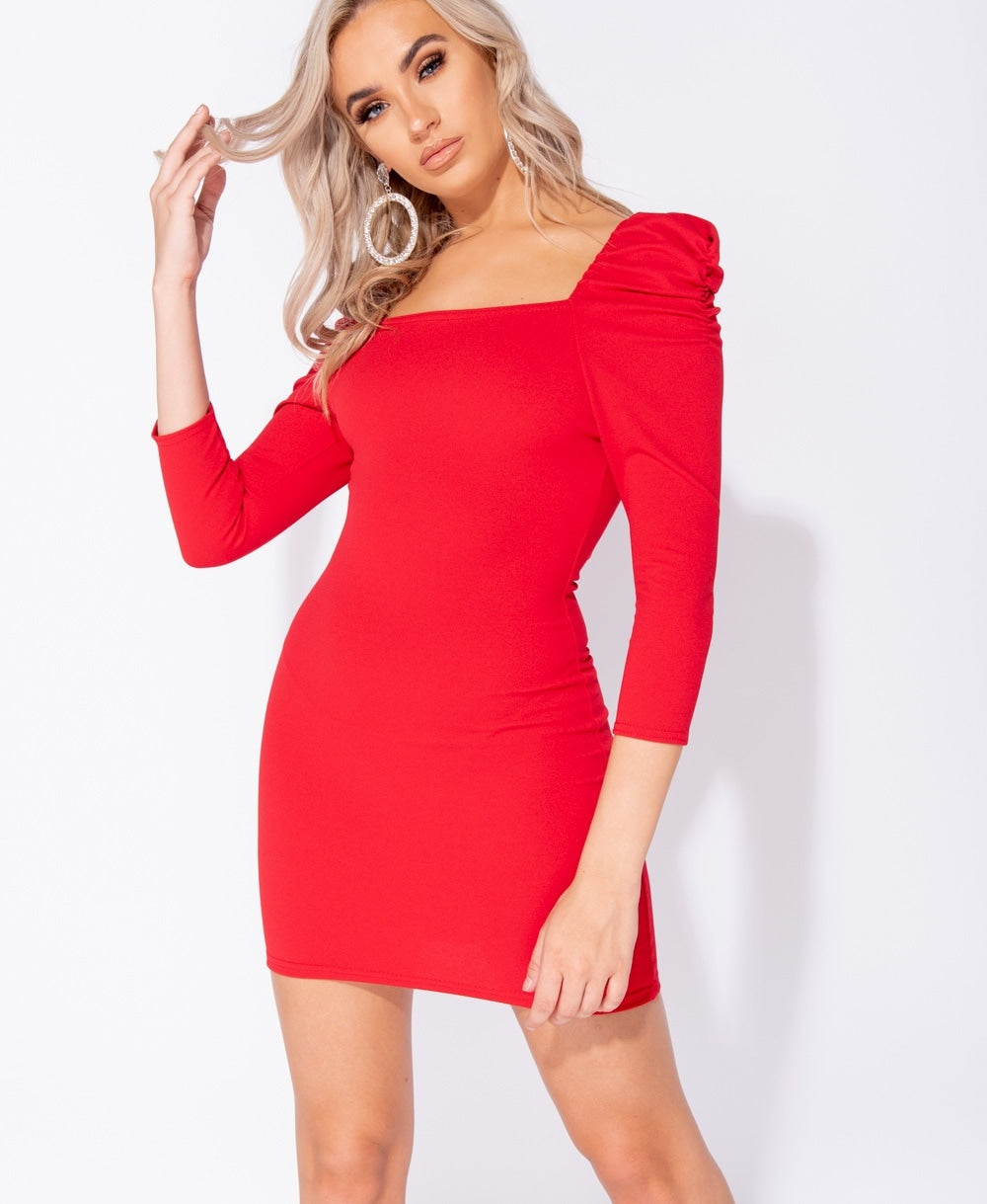 Red Puff Sleeve Square Neck Long Sleeve Bodycon Dress