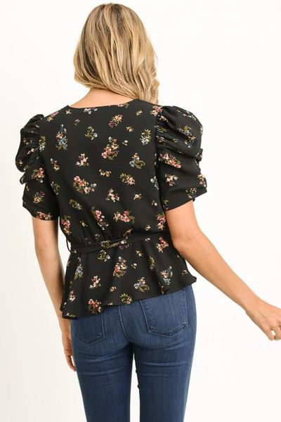 Floral Wrap Top-Trendy Puff Sleeve Design