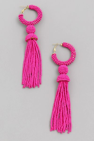 Pink Seed Beaded Tassel Drop Earrings