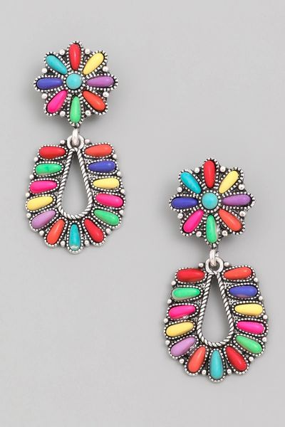 Floral Bead Drop Earrings