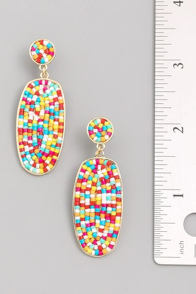 Beaded Pendant Drop Earrings