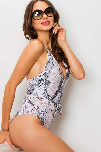 Snakeskin Belted One Piece