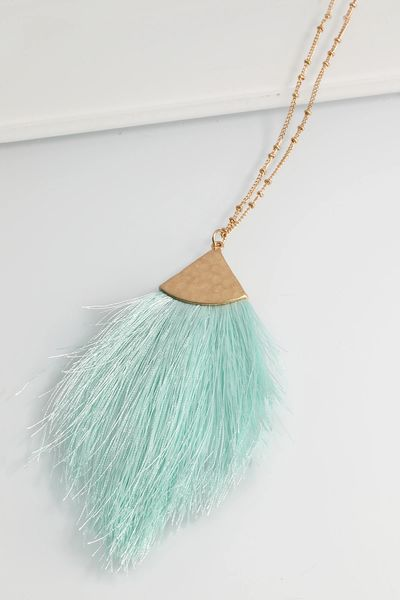 Mint Tassel Pendant Long Necklace
