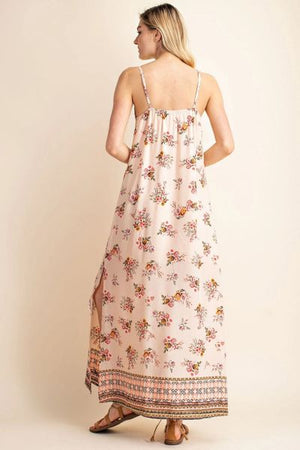Shoulder strap boarder print maxi dress