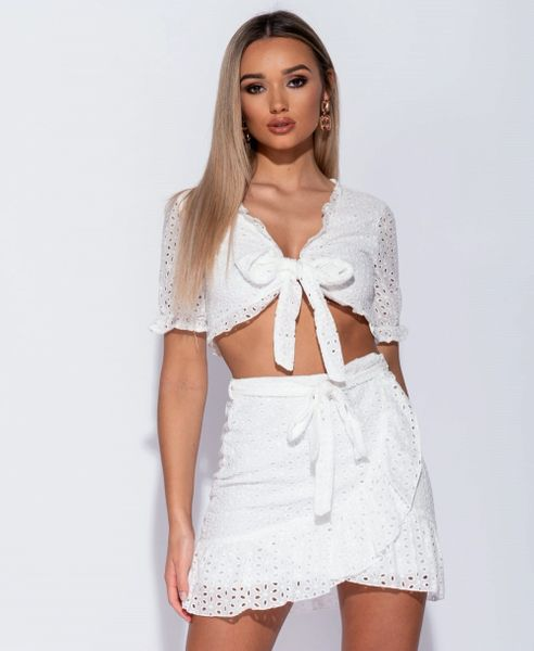 White Broderie Anglaise Lace Tie Front Crop Top & Skirt