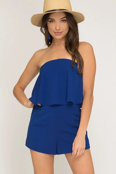 Royal Blue Strapless Layered Romper