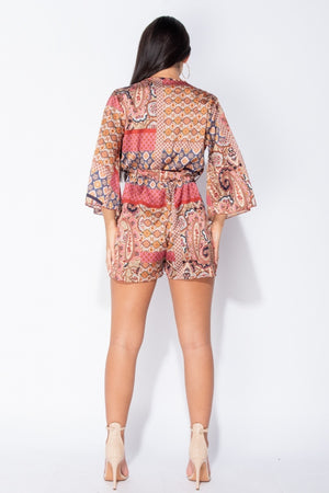 Rust Paisley Print Flare Sleeve Self Belt Satin Playsuit