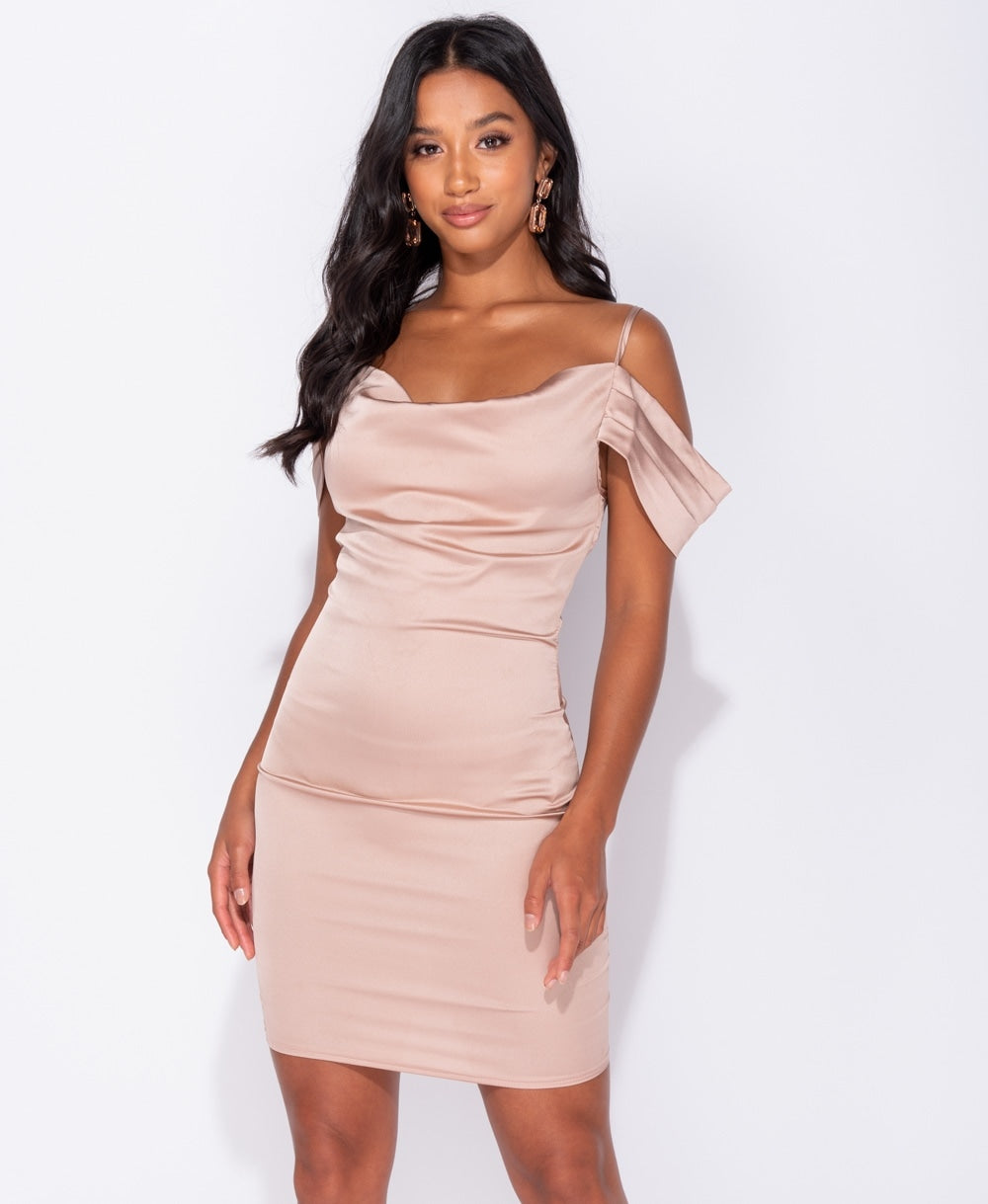 Satin Cold Shoulder Mini Dress