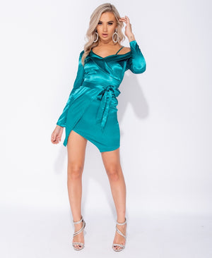 Satin Wrap Front Self Belt Cold Shoulder Mini Dress