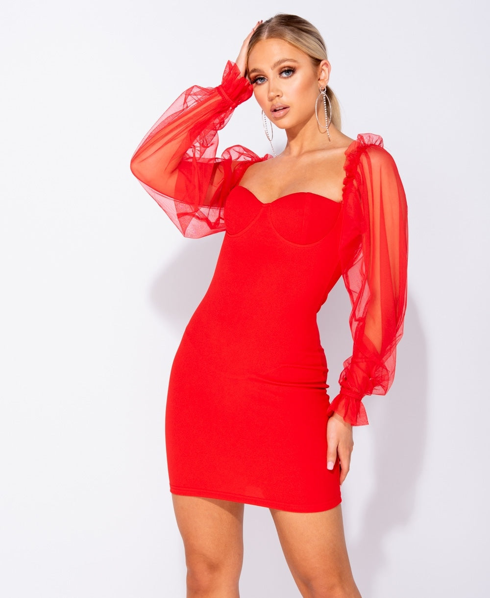 Red Sheer Sleeve Holiday Mini Dress