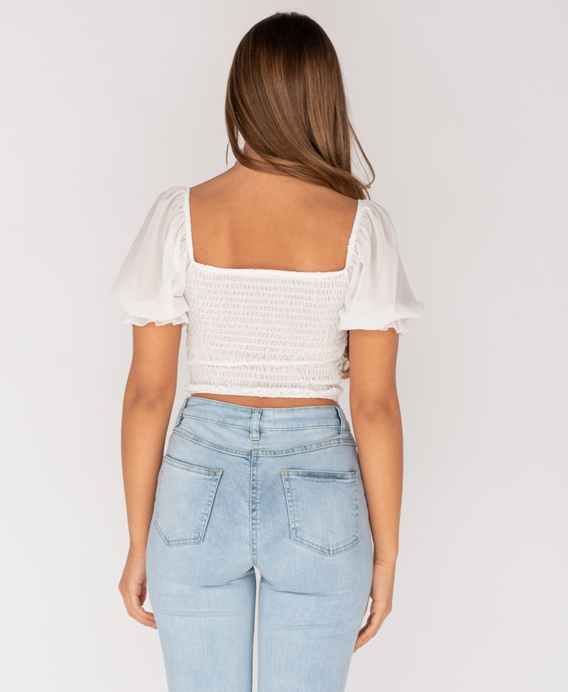 White Shirring Detail Button Up Front Puffed Sleeve Top