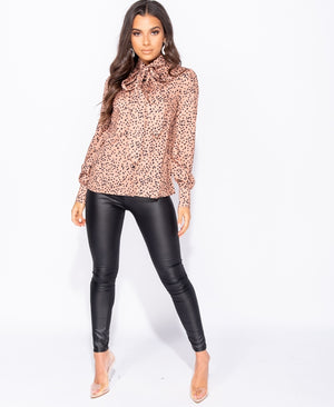 Spot Print Long Sleeve Blouse