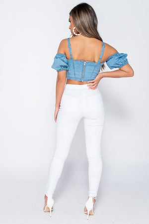 Best seller!!! Tie Up Front Bustier Detail Cold Shoulder Denim Crop Top