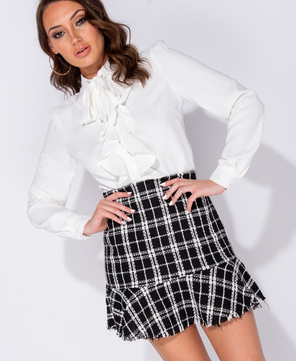 BEST SELLER!!! Tweed Peplum Frayed Hem Mini Skirt