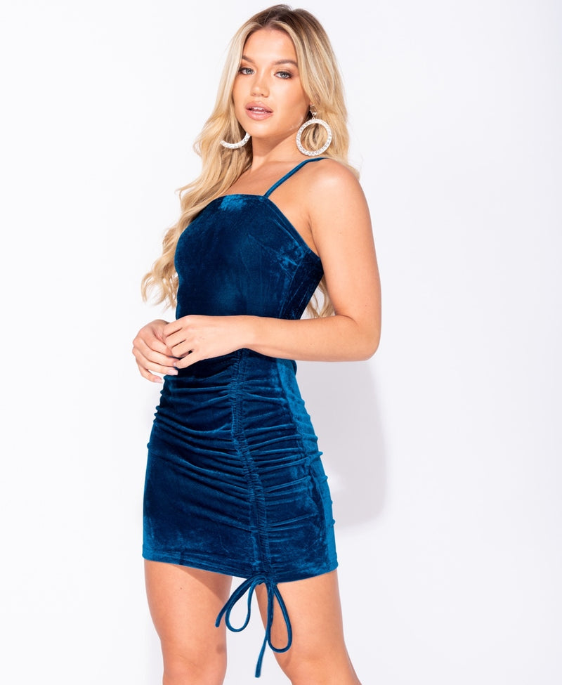 Velvet Ruched Tie Detail Bodycon Mini Dress