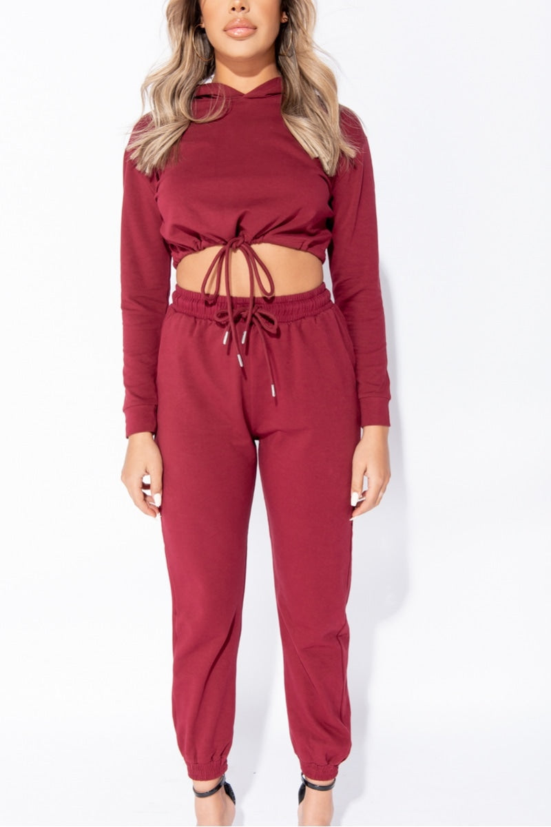 Wine Cropped Hoodie & Jogger Lounge Set