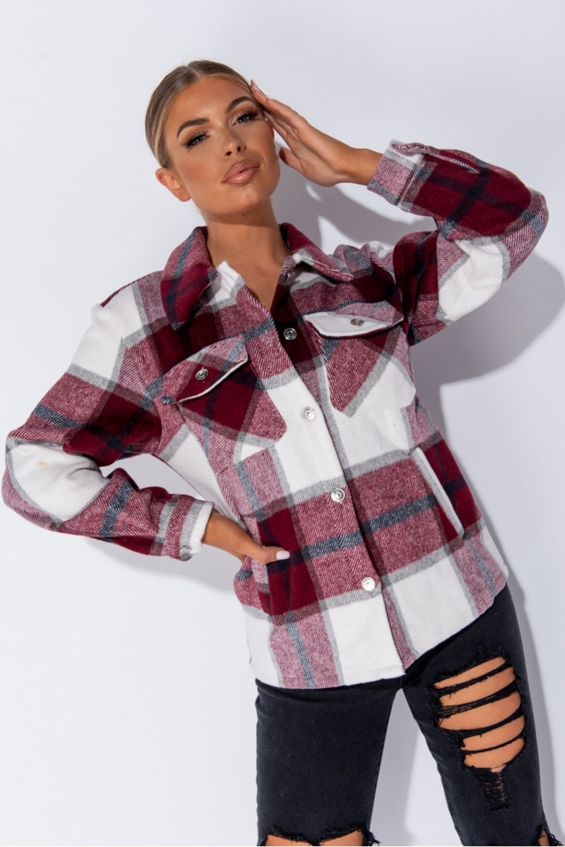 Best seller!!! Wine Oversized Checked Patch Pocket Shacket (pre order 1/8