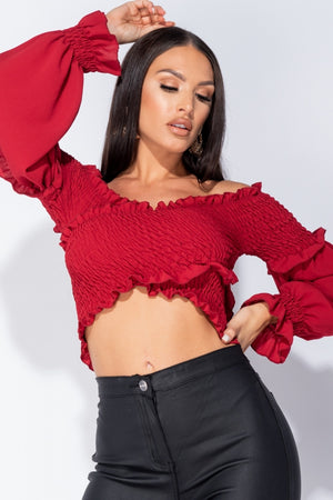 Wine Shirring Detail Long Sleeve Bardot Crop