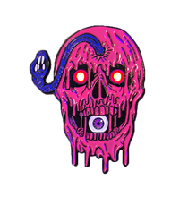 "Load image into Gallery viewer, ""SLIMY EYEBALL SKULL"" Light Up Enamel Pin"