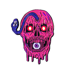 """SLIMY EYEBALL SKULL"" Light Up Enamel Pin"