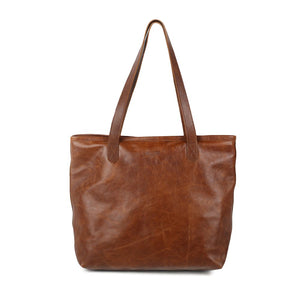 Genuine Leather Lined Sierra Soft Tote Bag