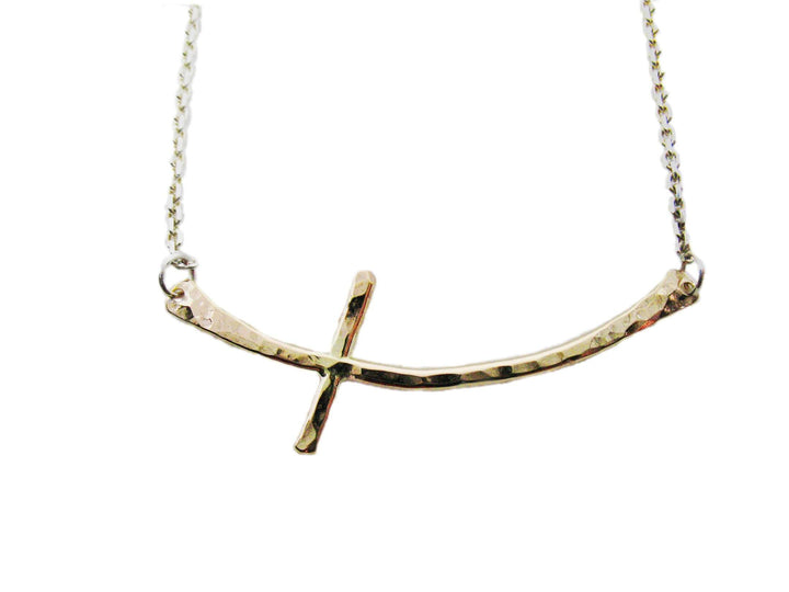 14K Gold-Filled Sideways Cross Necklace - K Kay Designs