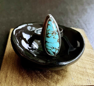 OOAK Oxidized Sterling Silver & Turquoise Teardrop Ring Ring K Kay Designs