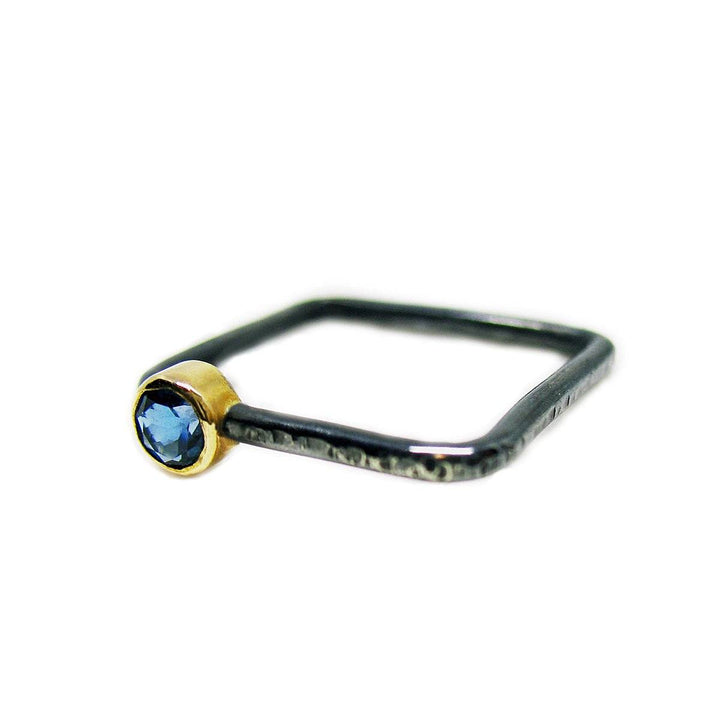 Oxidized Sterling Silver and London Blue Topaz Square Ring - K Kay Designs
