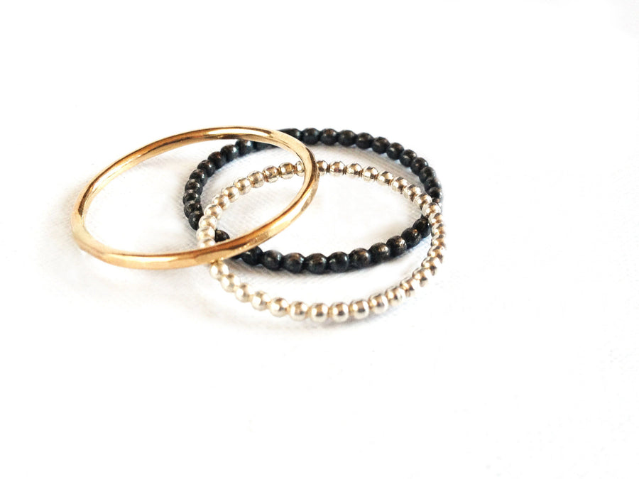 Oxidized Sterling Silver Stackable Ring - K Kay Designs