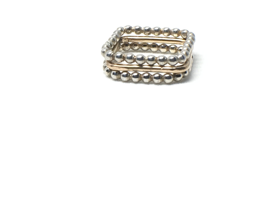 Oxidized Sterling Silver Stackable Square Ring - K Kay Designs