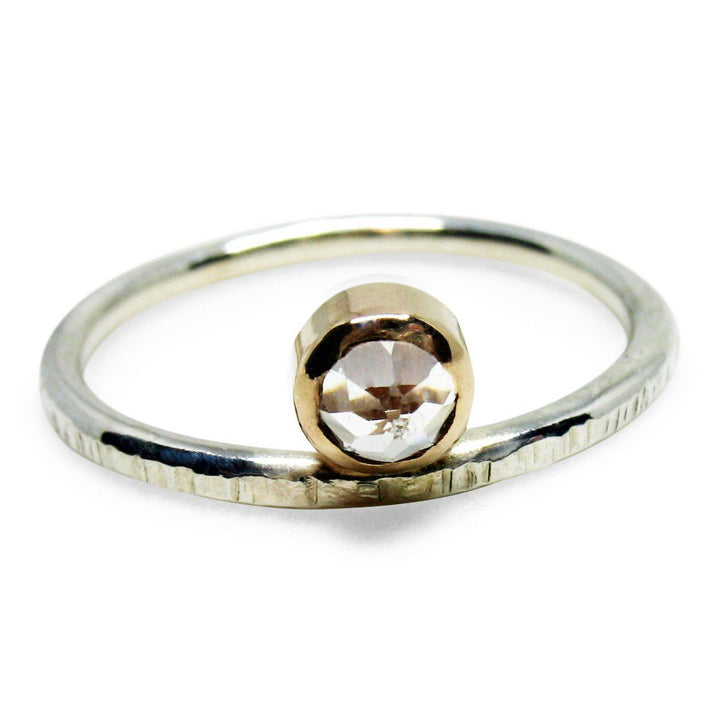 Sterling Silver and 14K Gold Filled Reverse and Side Set White Topaz Ring - K Kay Designs