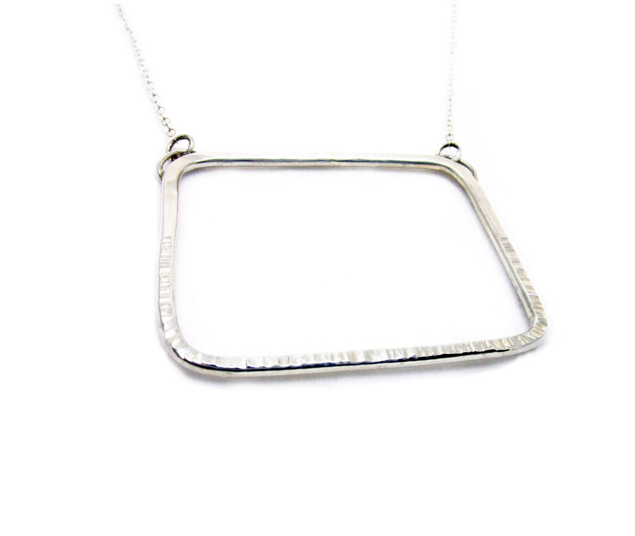Sterling Silver Rectangle Statement Necklace - K Kay Designs