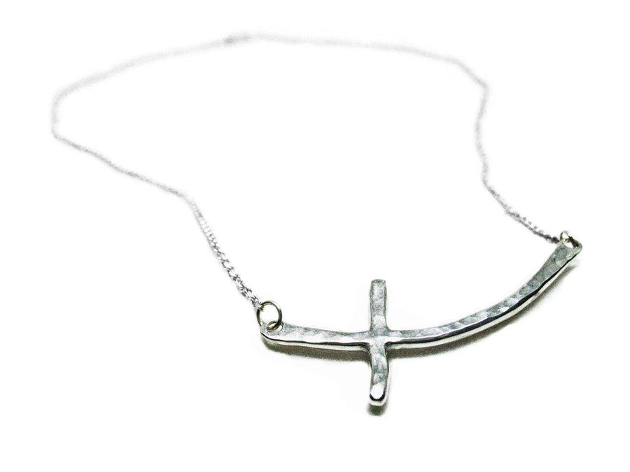 Sterling Silver Sideways Cross Necklace - K Kay Designs