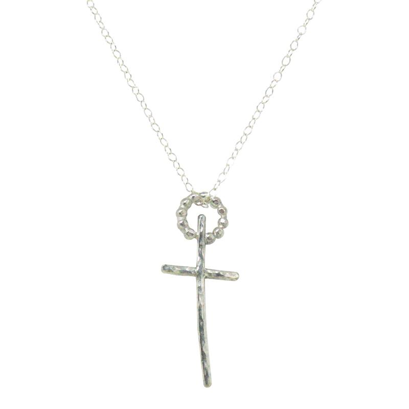 Sterling Silver Skinny mini Cross Necklace - K Kay Designs
