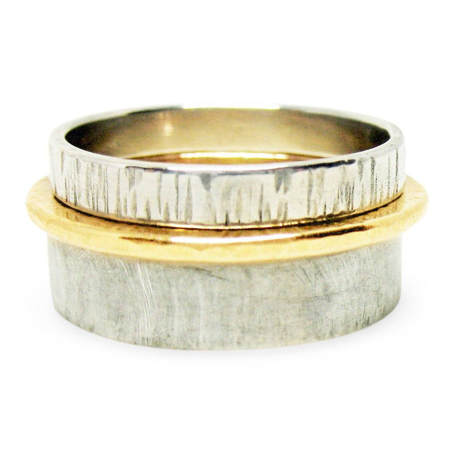 Thick & Thin Sterling Silver and 14K Gold-Filled Stack Ring Set - K Kay Designs