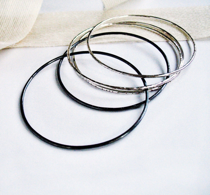 Thin Stacking Bangle Bracelet Set K Kay Designs