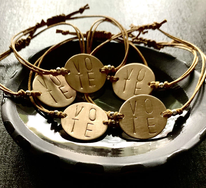 """VOTE"" Stamped Bronze  Bracelet - K Kay Designs"