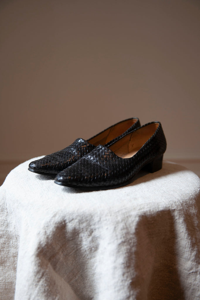 Black Woven Leather Shoes 8