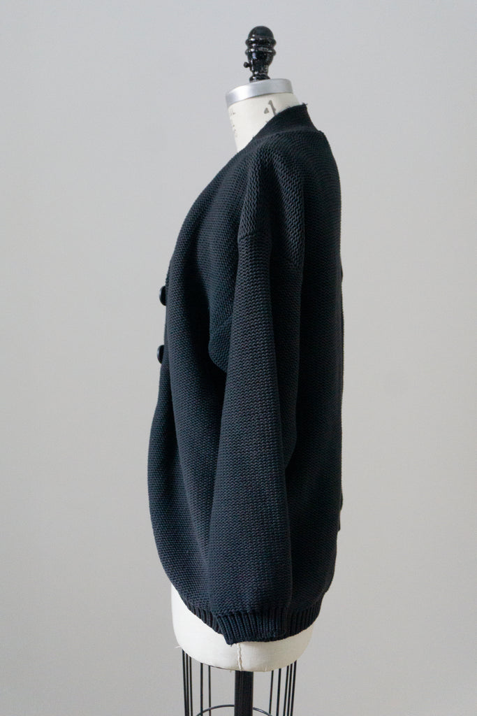 Black Silk Cable Knit Cardigan XL